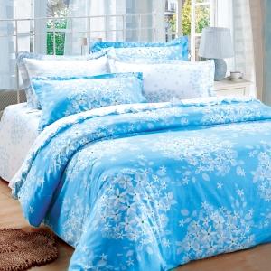 红富士生态家纺 100%纯棉独幅被套床单四件套FN-1 首尔恋人蓝
